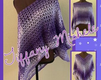 MARKDOWN! Purple Ombre Crochet Poncho