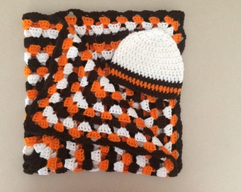 Crochet Cleveland Baby Football Blanket Afghan Throw Newborn Gift Set Handmade