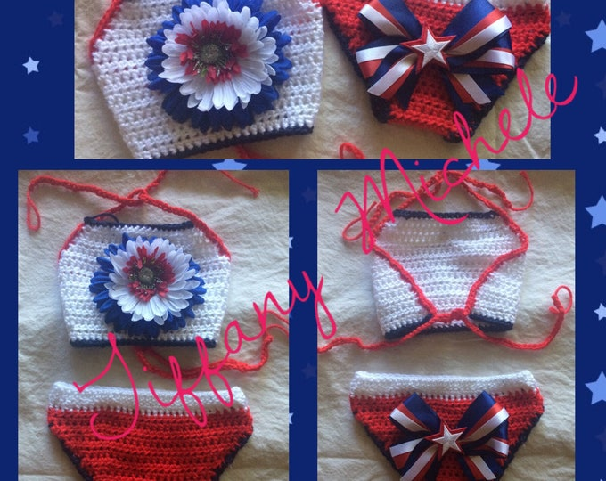 Patriotic American Baby Halter Top and Diaper Cover Outfit