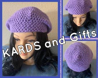Purple Winter Beret / Handmade Crochet (all colors available)
