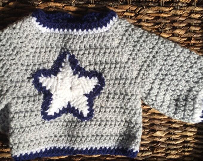 Dallas Cowboys Theme Football Crochet Jacket Sweater Star Handmade Gray Blue