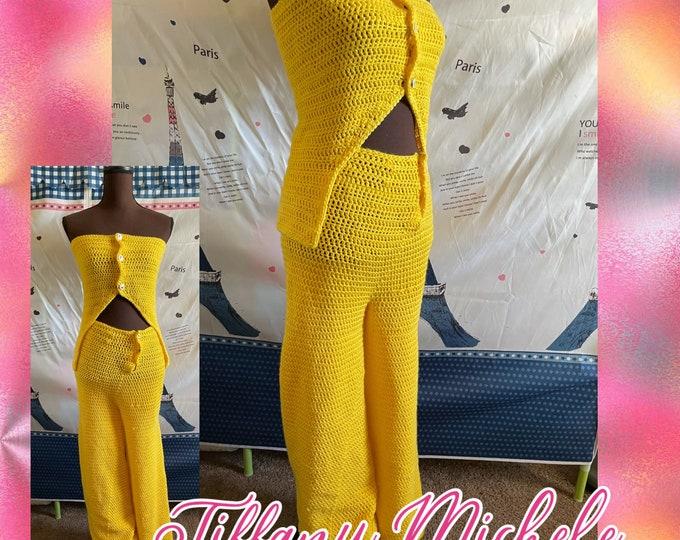 Crochet Pants Outfit / Handmade / Yellow / Medium