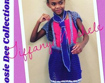 Little Girl Purple Rockin' Outfit Skirt Shrug Bolero Necktie / Handmade /Crochet