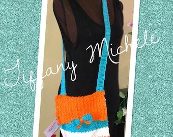 Miami Football Inspired / Cross Body Medium Bag / Handmade Crochet Purse Satchel