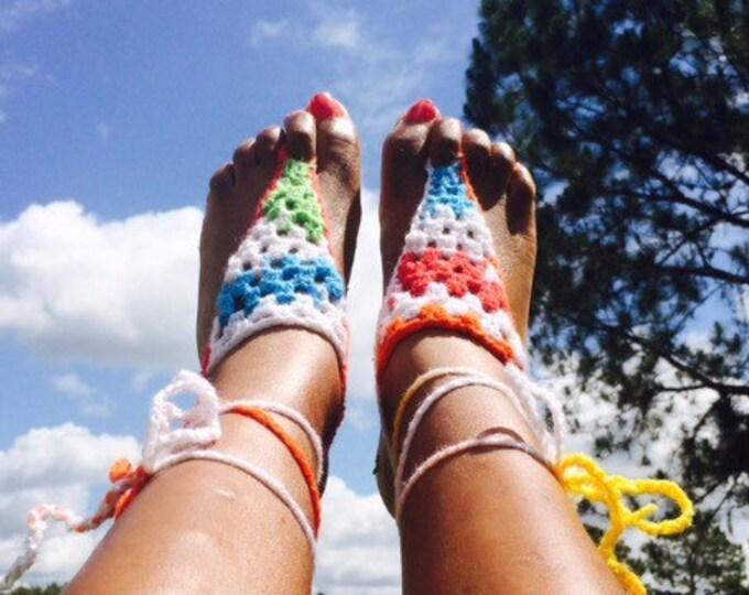 Colorful Beach Feet Barefoot Sandals