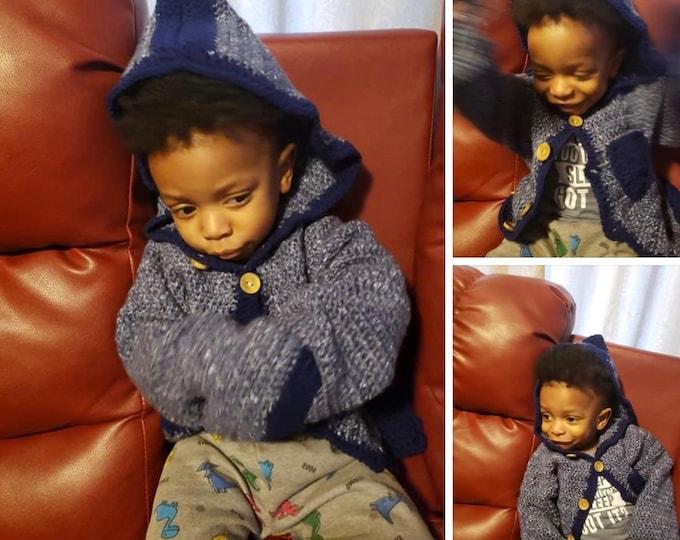 Kids Blue (Denim) Crochet Jacket