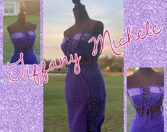 Purple Sparkle Fashion Crochet Complete Outfit /Skirt and Top / Handmade