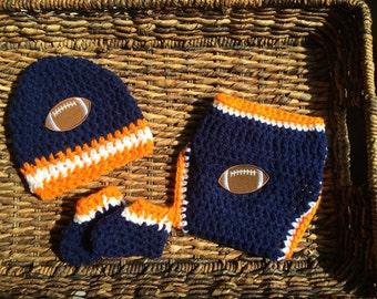 Crochet Newborn Baby Denver Broncos Diaper Cover Beanie Booties Gift Set