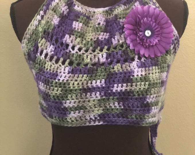 MARKDOWN Juniors Size M/L Crochet Boho Style Halter Top