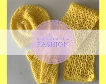 Zaria Winter Accessory Set / Beret Fingerless Mitts Scarf / Handmade Crochet (all colors)