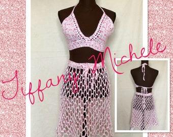 MARKDOWN Women Bubble Gum Pink Bikini Top and Skirt Beach Cover Up / Handmade Crochet