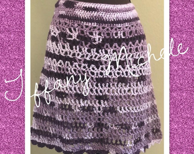 Full Skirt of Purples / Crochet / Handmade