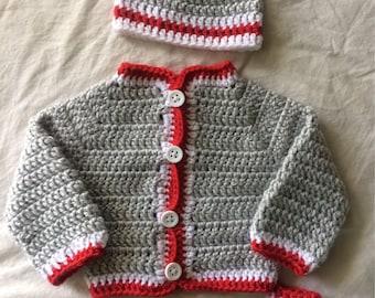 Crochet Newborn Baby Sweater Jacket and Beanie Gift Set