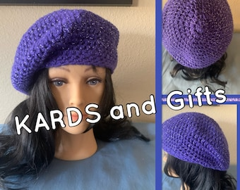 Sparkling Purple Winter Beret / Handmade Crochet (all colors available)