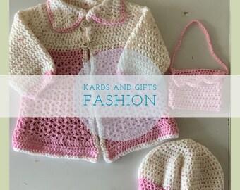 Pink Girls Dress Coat Set / Beret Coat & Purse / Size 12 months / Handmade Crochet