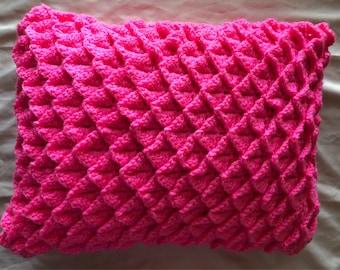 Handmade Crochet Pink Pillow / Home Decor