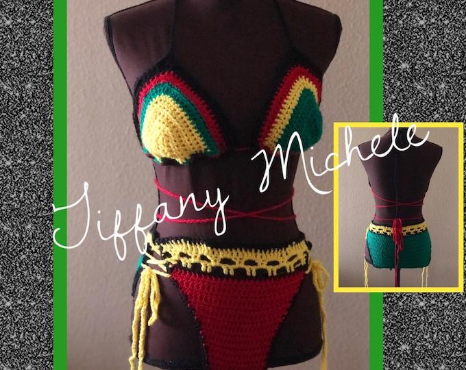 Jamaican Bikini Halter Crop Top Bottom Set / Jamaica Bathing Suit Fashion / Handmade Crochet