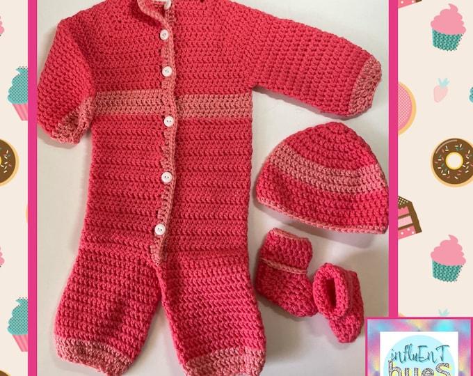 Newborn Baby Girl Sleeper Gift Set / Crochet Handmade 3-6 Months