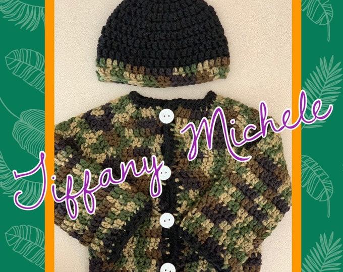 Camouflage Camo Baby Sweater Jacket and Cap Gift Set / Crochet / Handmade