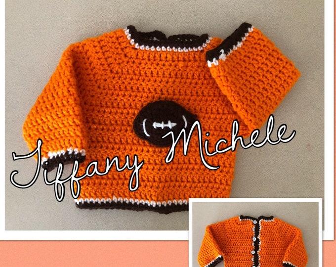 Cleveland Football Sports Crochet Jacket Sweater / Handmade
