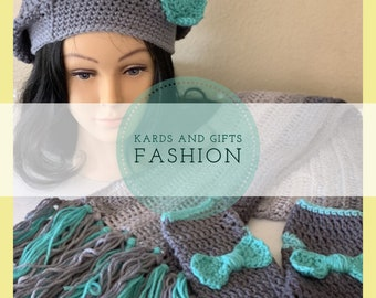 Chilly Out Accessory Set / Beret Fingerless Mitts Scarf / Handmade Crochet (all colors) / Winter Fall