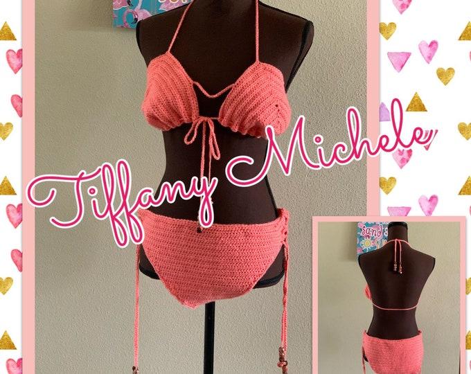Peach Bikini Top Bottom Set / Bathing Suit Fashion / Handmade Crochet