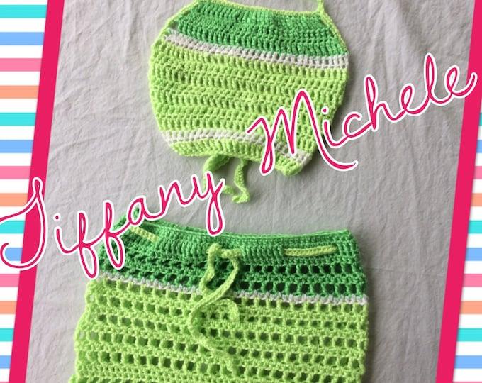 Crochet Green Apple Kids Beach Halter Top and Shorts