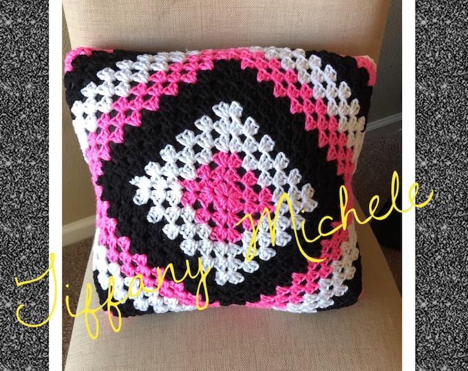 Handmade Black White Pink Square Pillow / Home Decor / 12x12