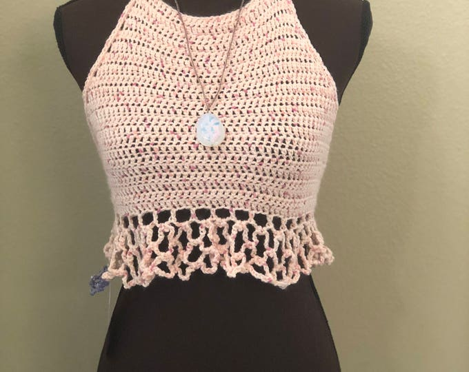 MARKDOWN Juniors Pinks Crochet Boho Style Halter Top (necklace not included)
