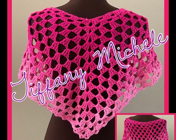Pink Kids Ombre Fashion Crochet Poncho / Handmade