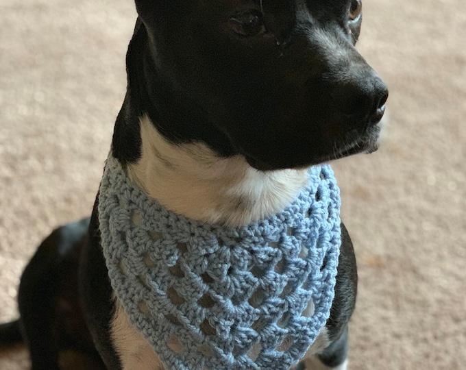 MARKDOWN Blue Dog Kerchief / Handmade Crochet Dog Neck Scarf