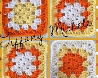Fall Autumn Thanksgiving Coaster Granny Square / Set of 4 / Handmade / Crochet