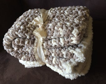 Crochet Super Soft Chunky Baby Blanket Afghan Throw Beige Gray White