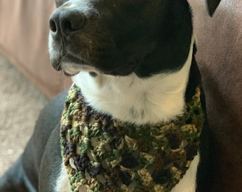 Camo Hunter Dog Kerchief / Handmade Crochet Dog Neck Scarf MARKDOWN