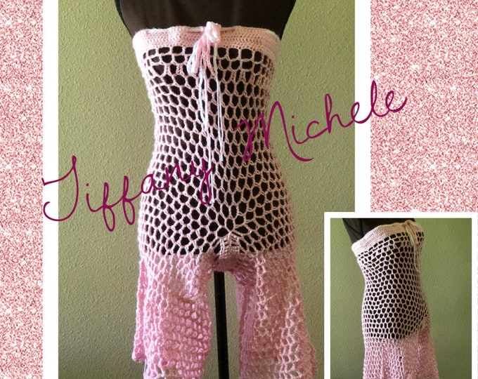 Crochet Pink Romper Beach Cover Up Outfit / Womens / Handmade