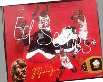 MARKDOWN Michael Jordan GOAT Collage Acrylic Artwork Original Signed Painting Art