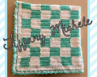 Light Teal and White Crochet Blanket / Handmade / Gingham