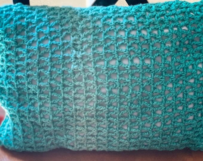 Teal Ombre Decorative Pillow / Crochet Handmade