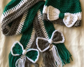 Fall Winter Toddler Beanie and Scarf Gift Set Accessory / Teal Gray White / Handmade Crochet