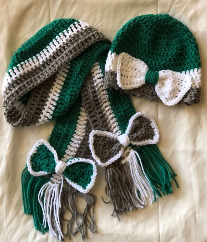 Fall Winter Toddler Beanie and Scarf Gift Set Accessory  Teal Gray White  Handmade Crochet