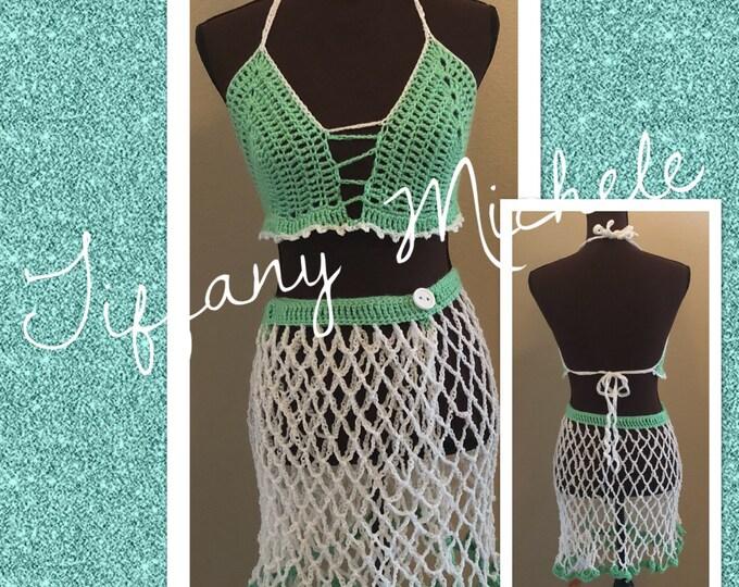 MARKDOWN Green Crop Top Halter Top & Skirt Swim Beach Cover Up / Crochet