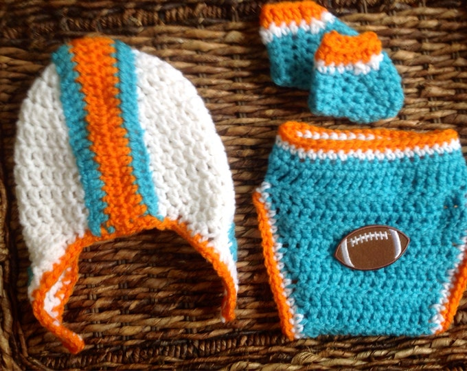 Crochet Miami Dolphins Theme Football Baby Helmet Hat Diaper Cover Gift Set