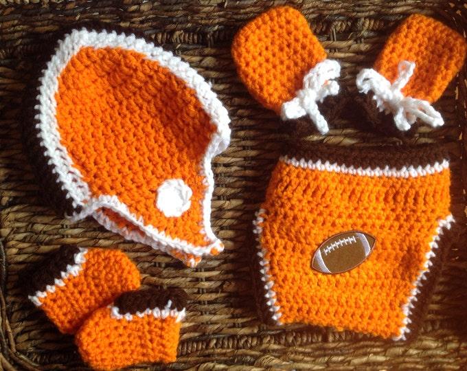 Cleveland Football Theme Crochet Baby Gift Set
