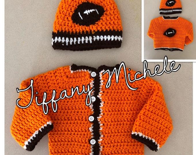 Cleveland Football Sports Crochet Jacket & Beanie Cap Sweater Set/ Handmade
