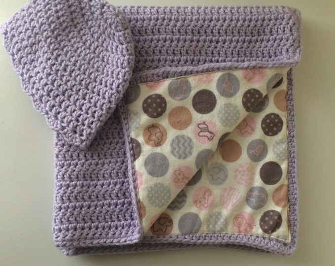Baby Basics Purple Newborn Blanket with Beanie Afghan Throw Fabric Lined Crochet 30x30