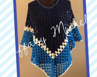 The Blues Fashion Crochet Poncho