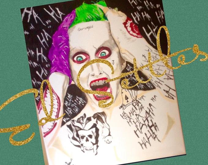 MARKDOWN Insane The Joker Ha Ha Suicide Squad Acrylic Artwork Original Signed Painting Art
