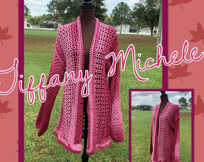 Women's Maroon Ombré Fashion Cardigan / Crochet / Handmade / Sweater