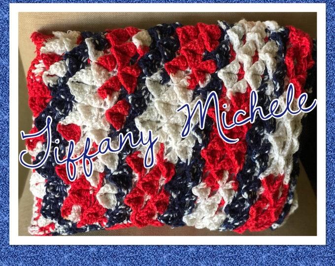Handmade Crochet Red White Blue Summer Patriotic USA Pillow / Home Decor / 12x16