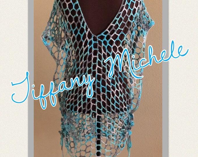 Ocean Blues V-Neck Net Tunic / Beach Swim Pool Suit Cover Up / Summer / Crochet Handmade